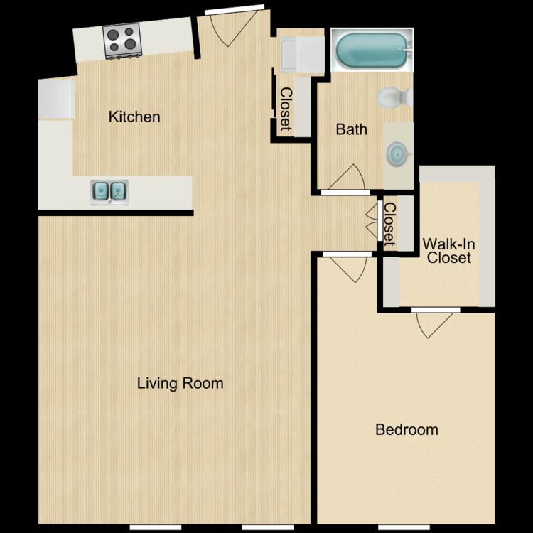 143 -204 One bedroom (rented) floor plan image