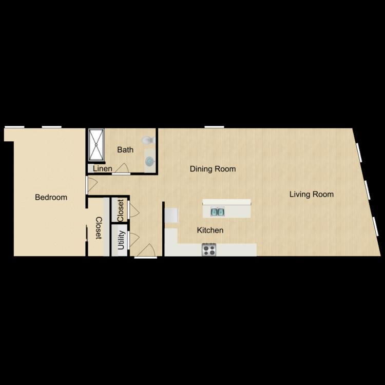 135-402 Two-bedroom (rented) floor plan image