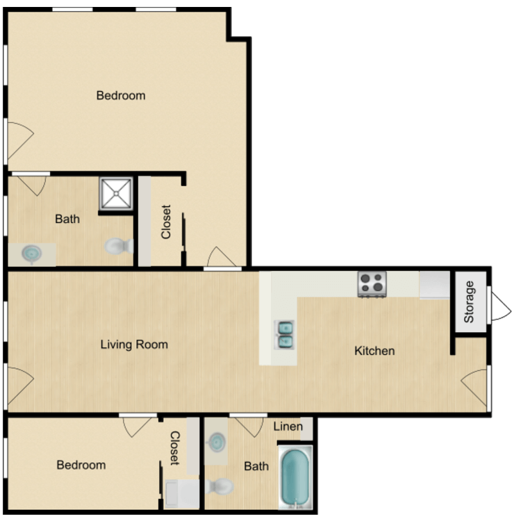 Floor plan image of 139-400 One Bedroom Deluxe Available