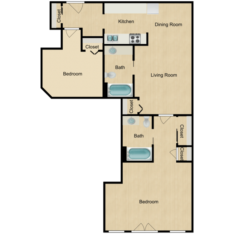 Floor plan image of 133-03 series One Bedroom with Office/Den Available