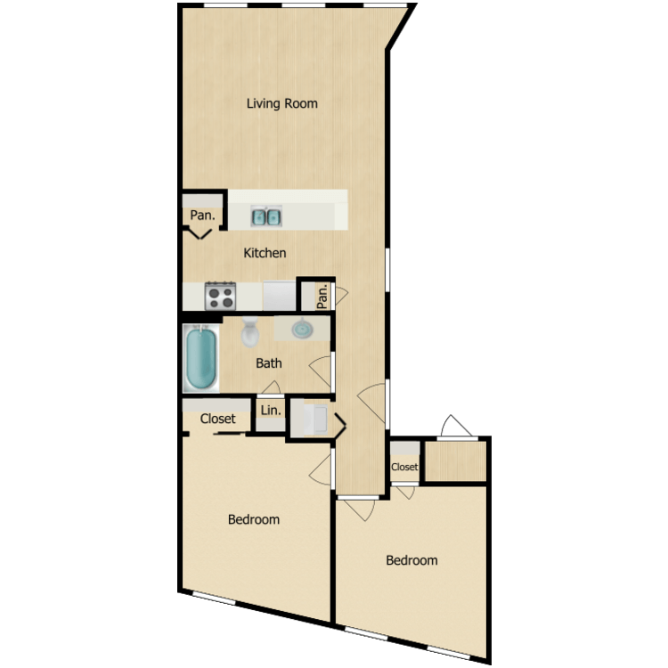 Floor plan image of 155-06 series Two-bedroom 1 bath (Sept. 2020) From $1250