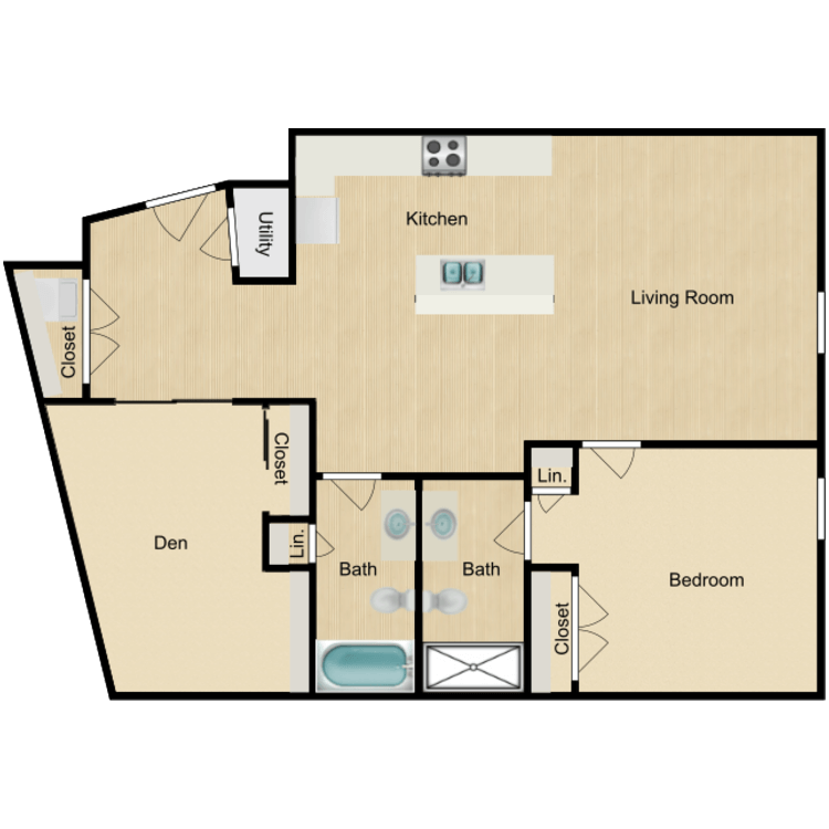 Floor plan image of 143-203 One Bedroom with Office/Den Available