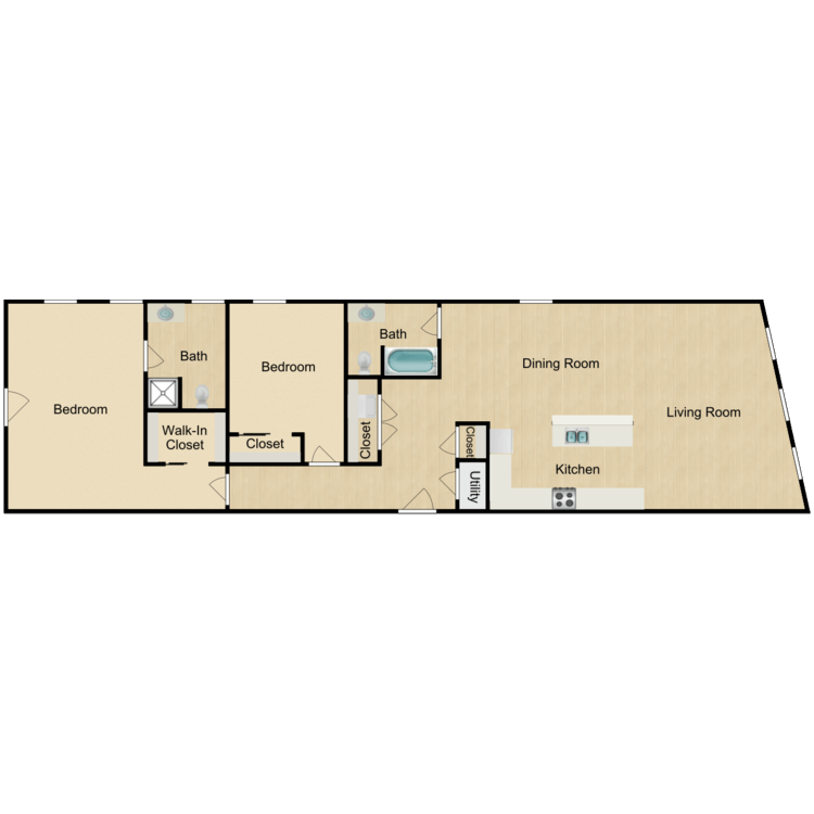 Floor plan image of 139-300 Two-bedroom Deluxe Available