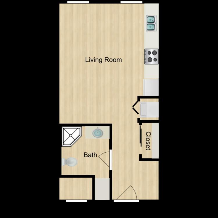 155 Studios (Sept. 2020) from $650 floor plan image