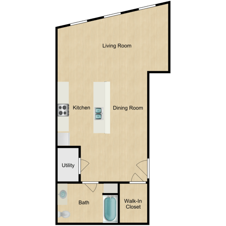 139 Studios (rented) floor plan image