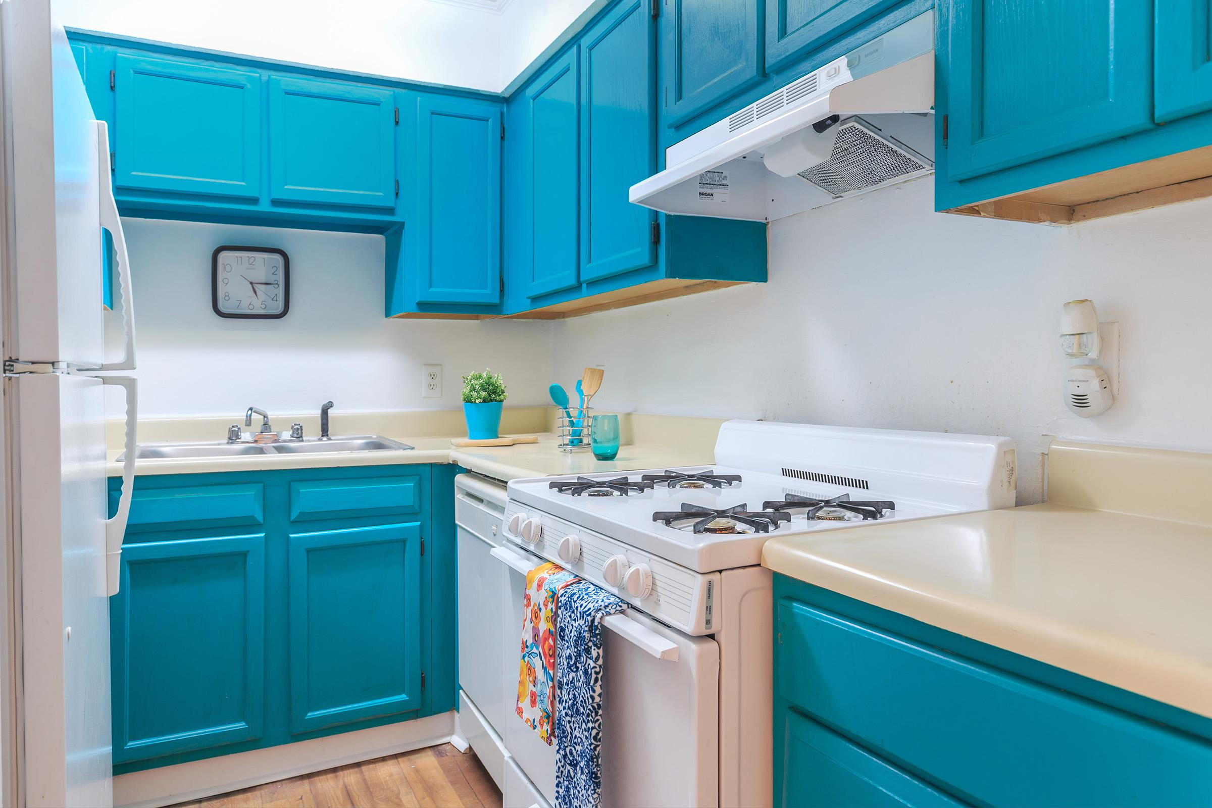 a kitchen with a blue sink
