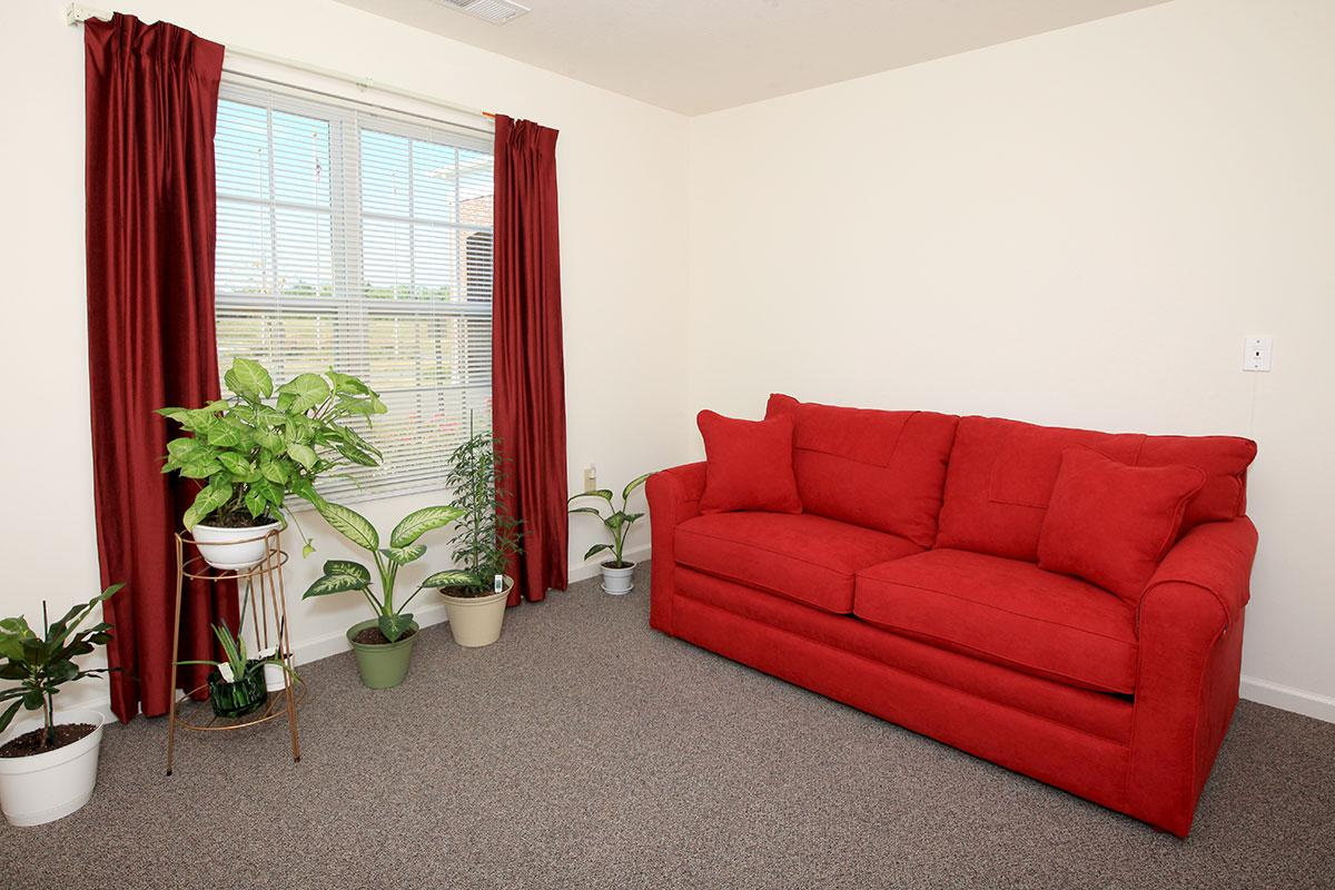 a living room with red walls and a large window