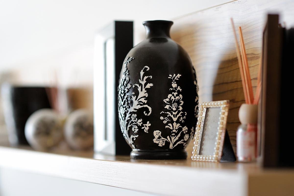 a vase sitting on a table