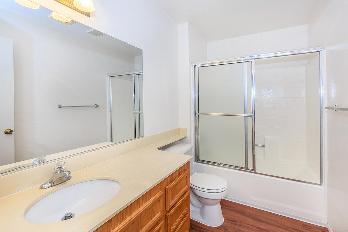 a white sink sitting under a mirror next to a shower