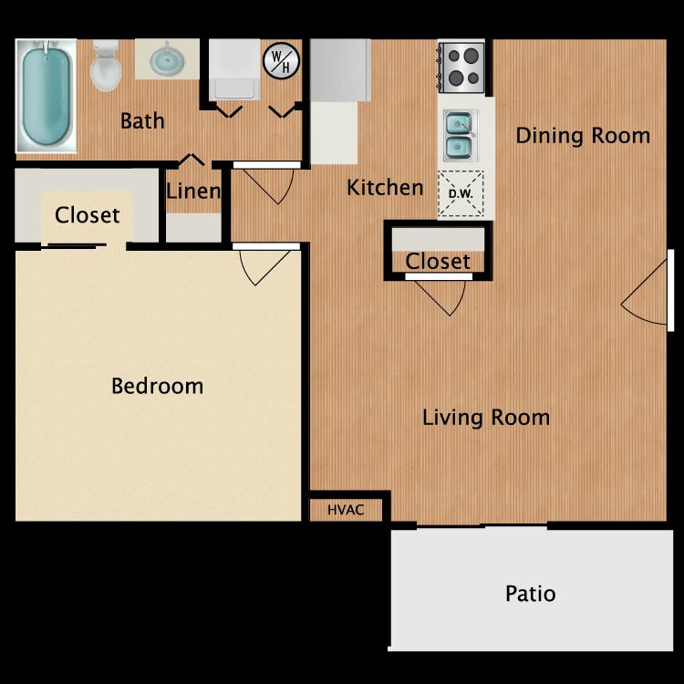 Floor plan image of 1 Bed 1 Bath Upgrade