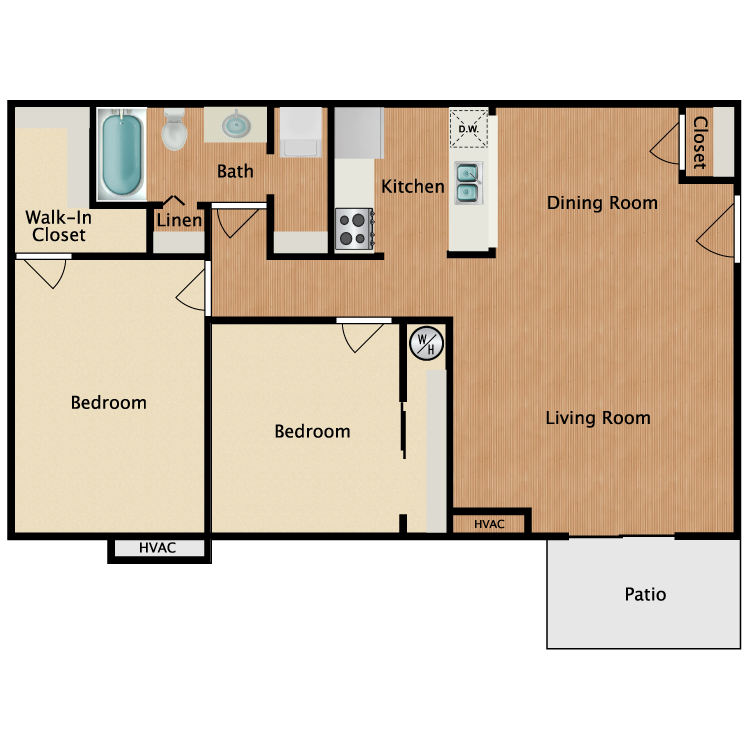 Floor plan image of 2 Bed 1 Bath Upgrade