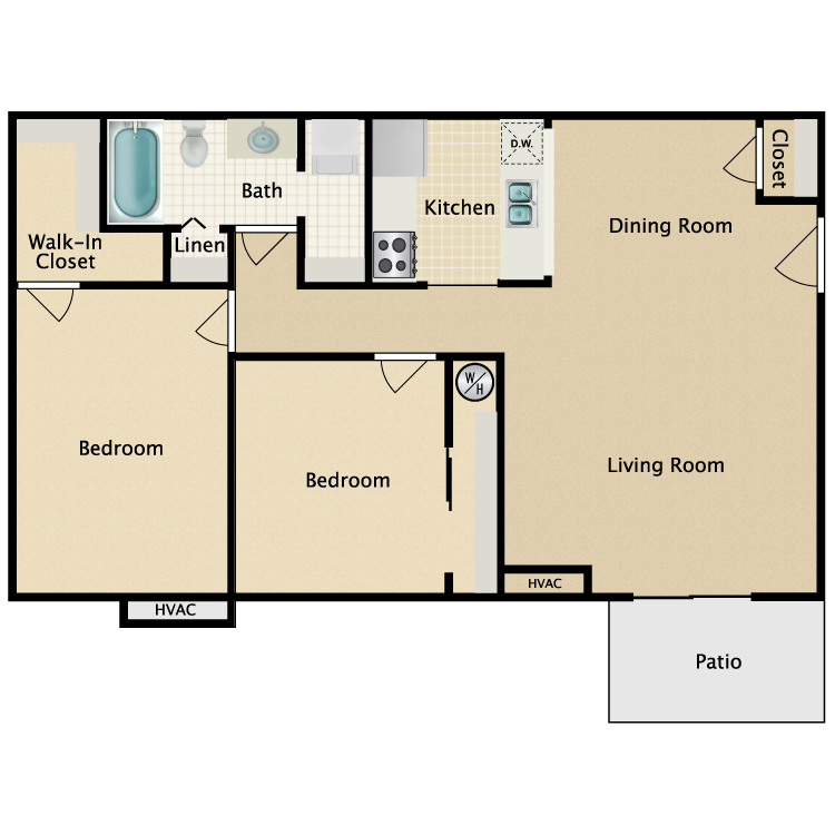 Floor plan image of 2 Bed 1 Bath Traditional
