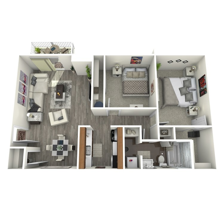 Floor plan image of 2 Bed 1 Bath Upgrade