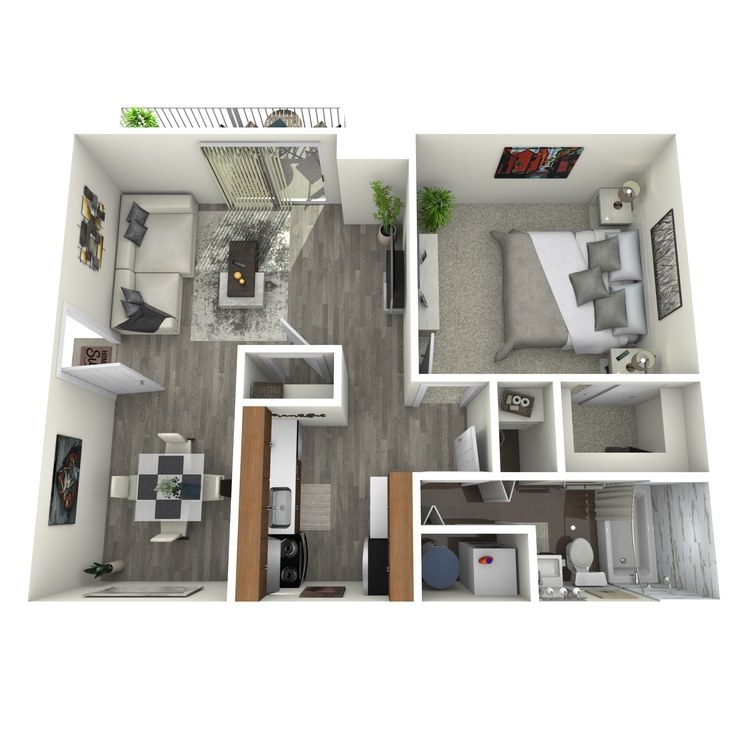 Floor plan image of 1 Bed 1 Bath Upgrade