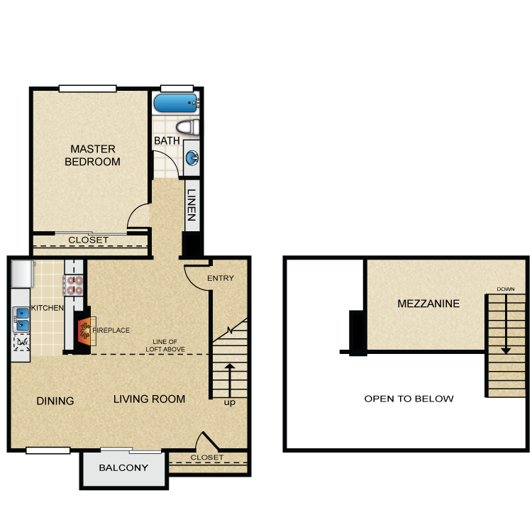 Floor plan image of One Bedroom B Loft