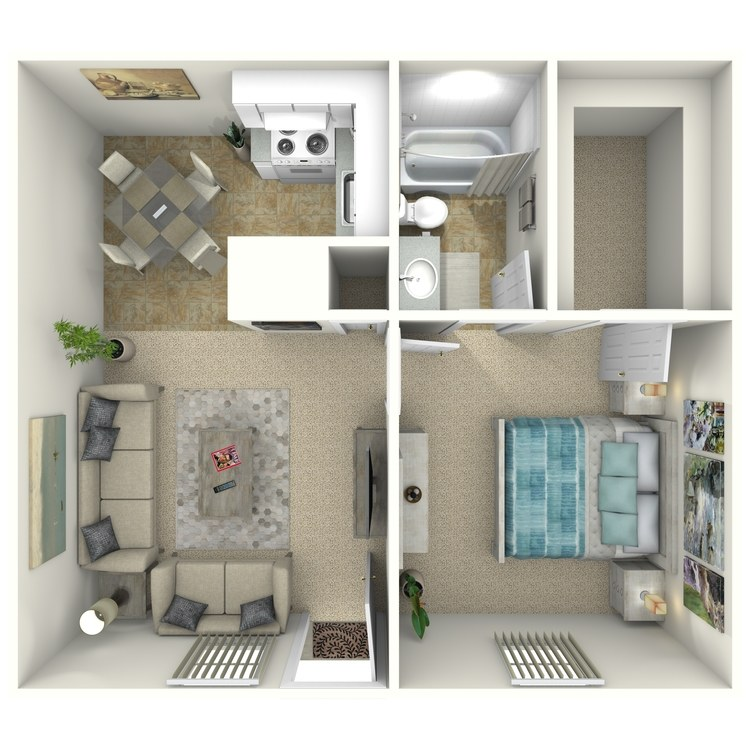 Floor plan image of 1 Bed 1 Bath Down