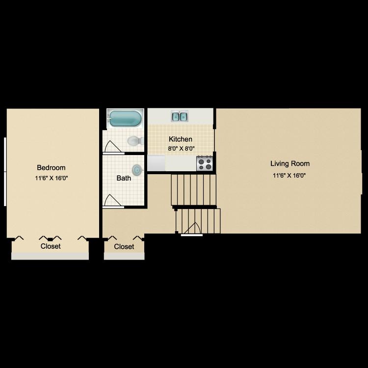 Floor plan image of 1 Bed 1 Bath Upper