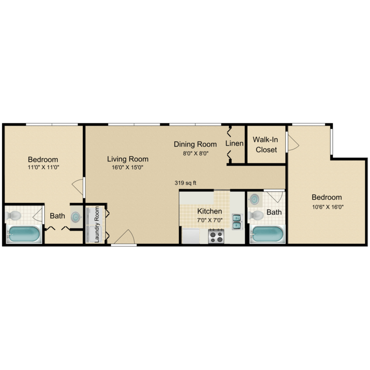 Floor plan image of 2 Bed 2 Bath Flat Renovated