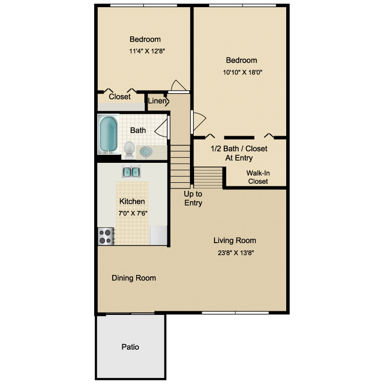 Floor plan image of 2 Bed 1.5 Bath Lower