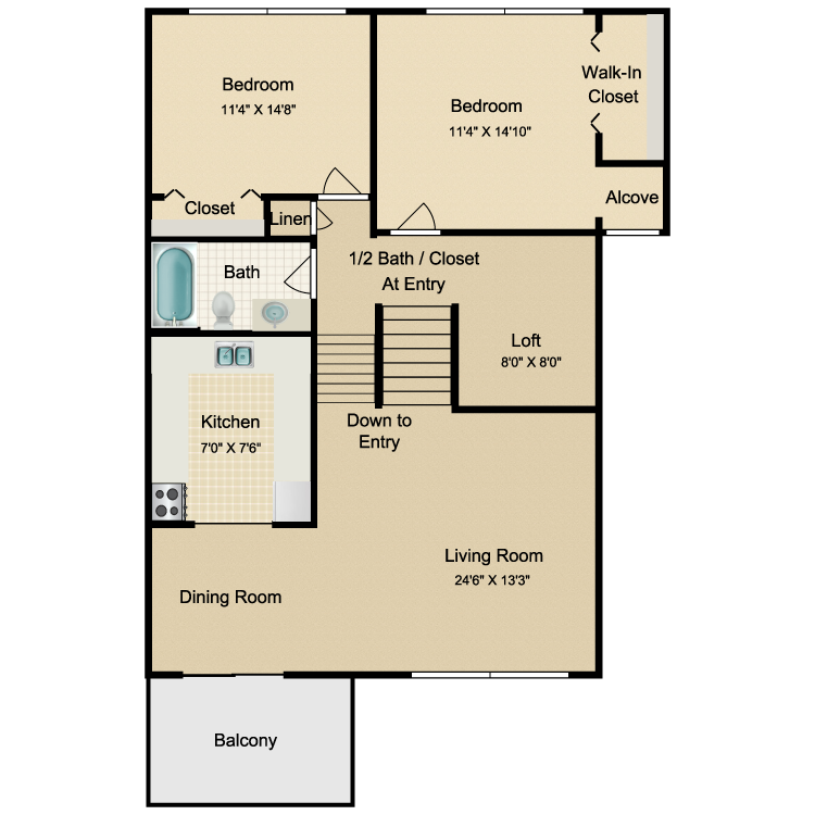 Floor plan image of 2 Bed 1.5 Bath Upper Outside