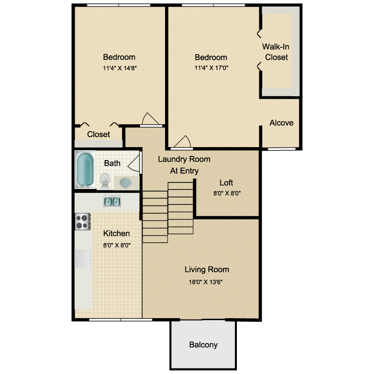 Floor plan image of 2 Bed 1 Bath Upper Renovated