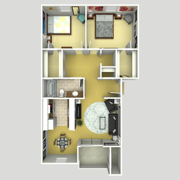 Floor plan image of 2 Bed 1 Bath B1