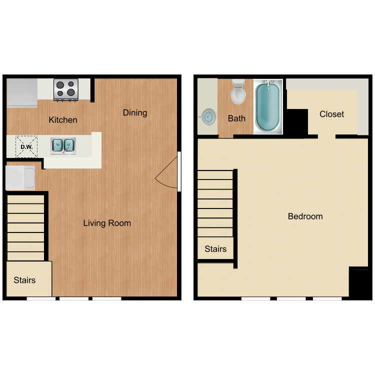 Floor plan image of 1 Bed 1 Bath Lg.TH
