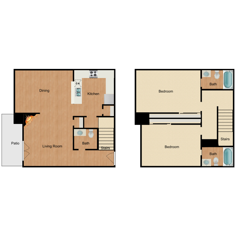 Floor plan image of 2 Bed 2.5 Bath TH