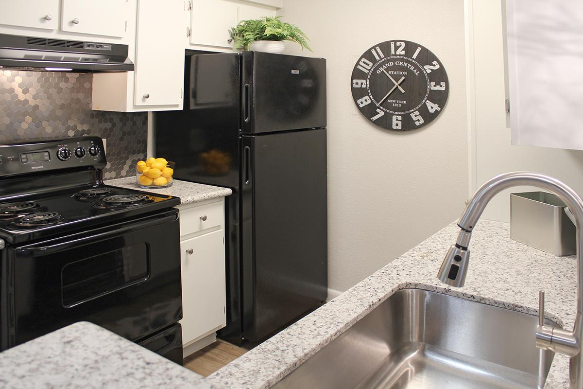 Black appliances and stainless backs plashes