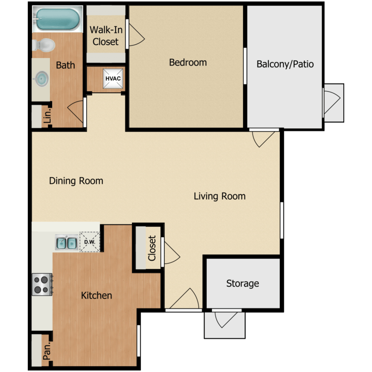 Floor plan image of 1 BR A-1