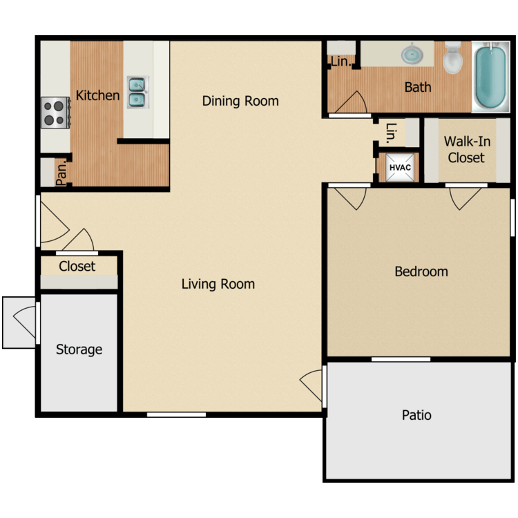Floor plan image of 1 BR A-2