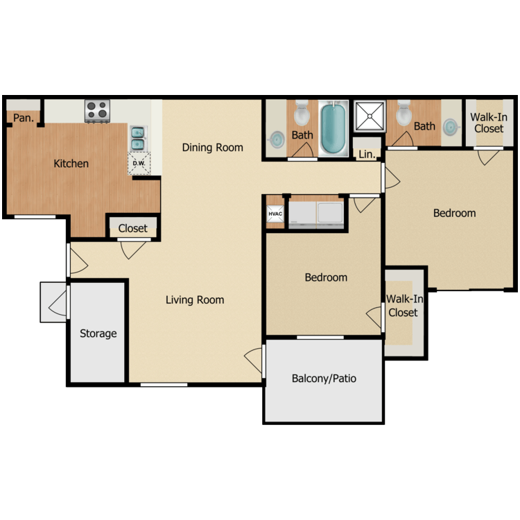 Floor plan image of 2 BR B-4