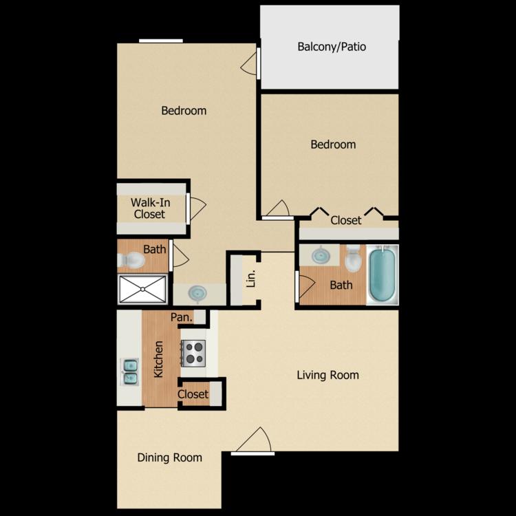 Floor plan image of 2 BR B-2