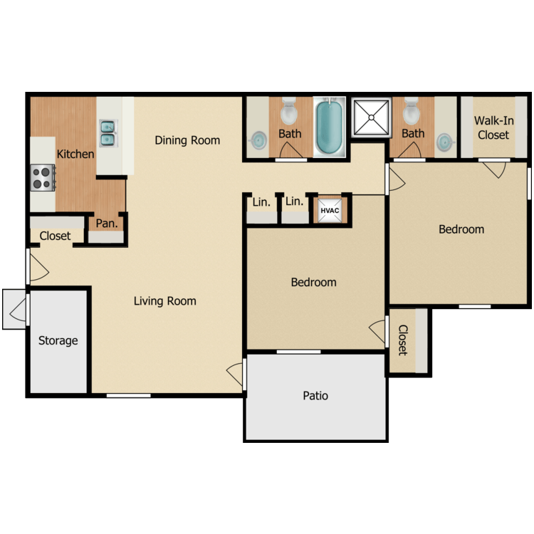 Floor plan image of 2 BR B-3