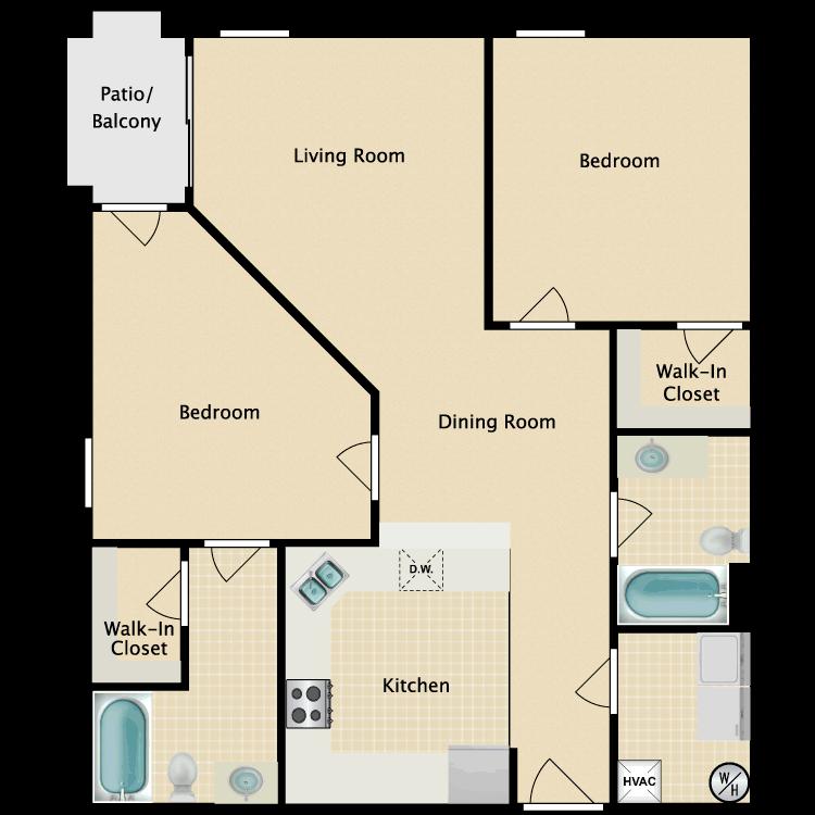 Floor plan image of 2 Bed 2 Bath Deluxe