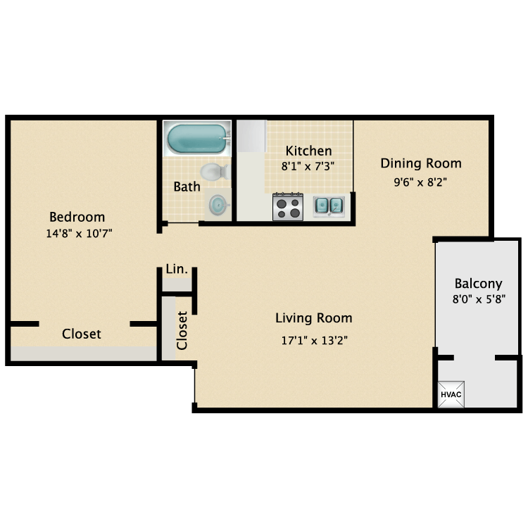 Floor plan image of Courtyard- Renovated