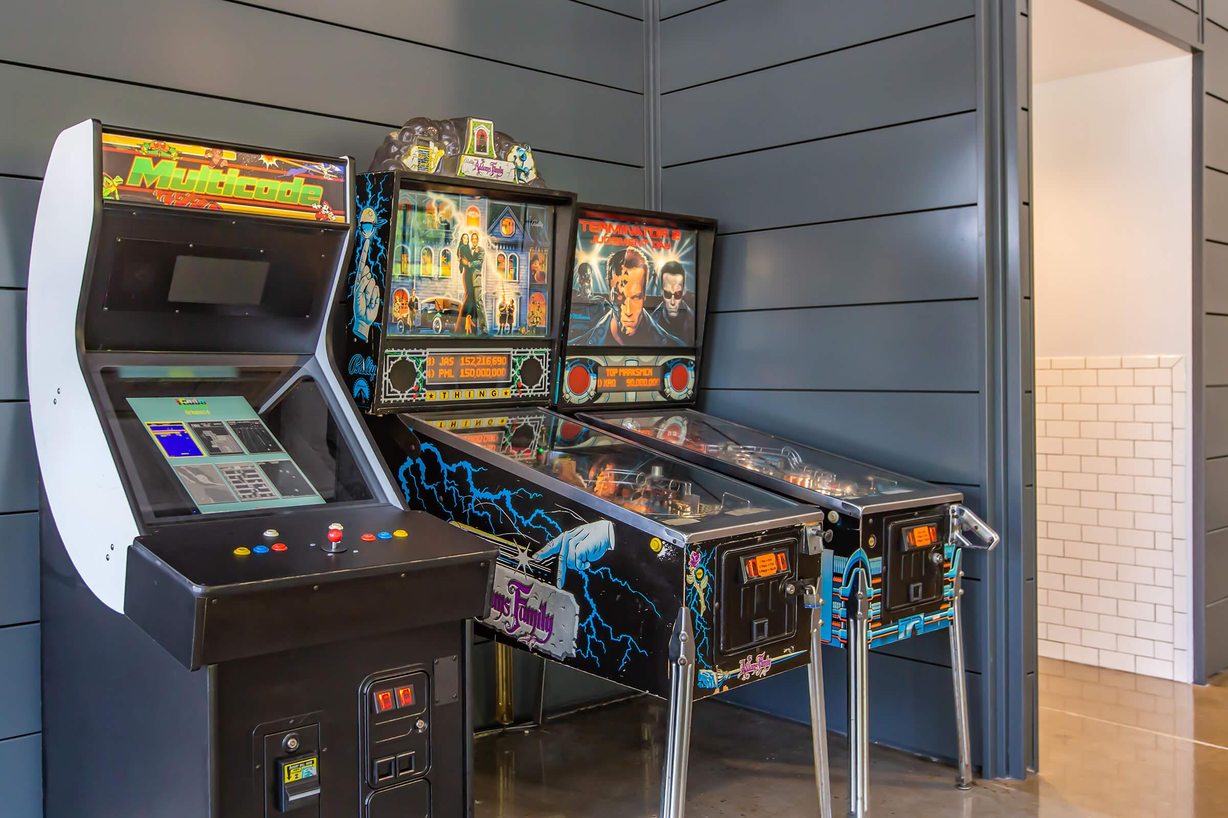Pinball machines at South Front In Wilmington, NC.