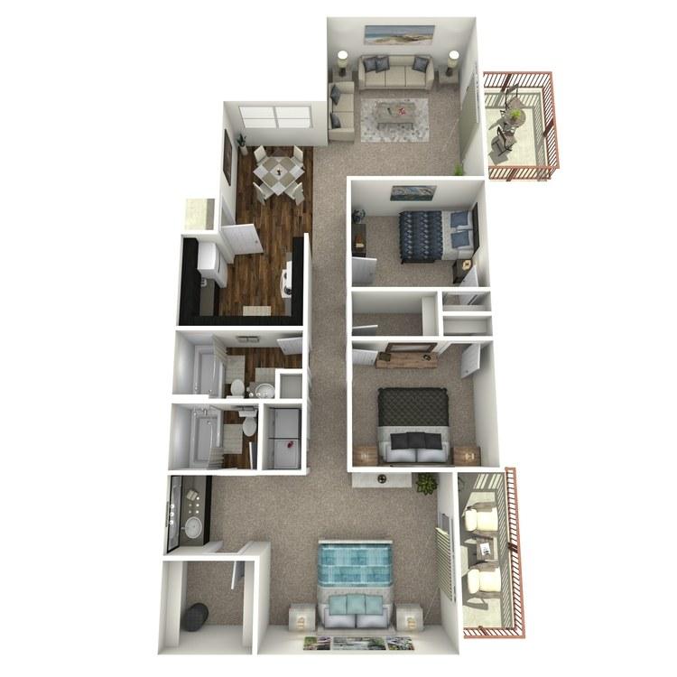 Floor plan image of Three Bedroom Two Bath