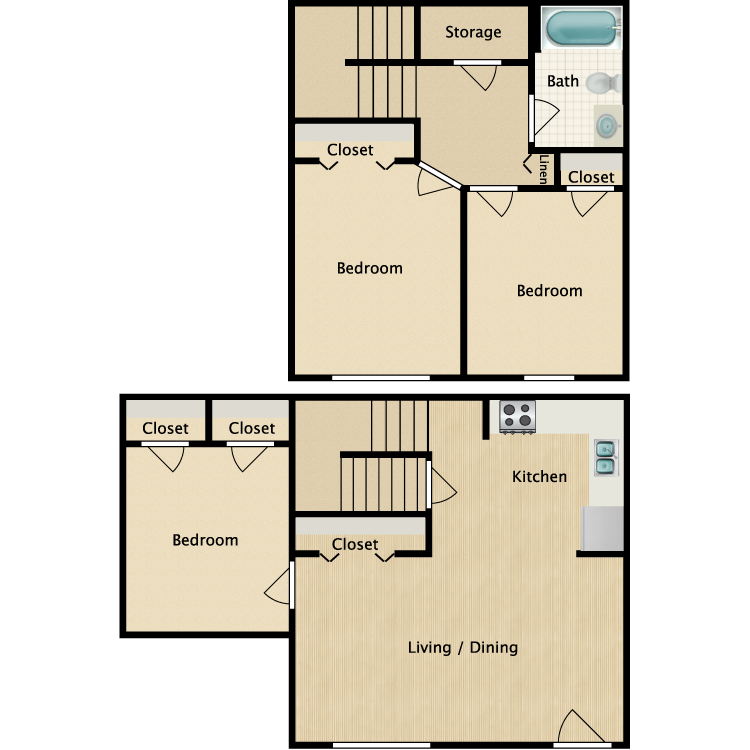 Floor plan image of 3 Bed 1 Bath