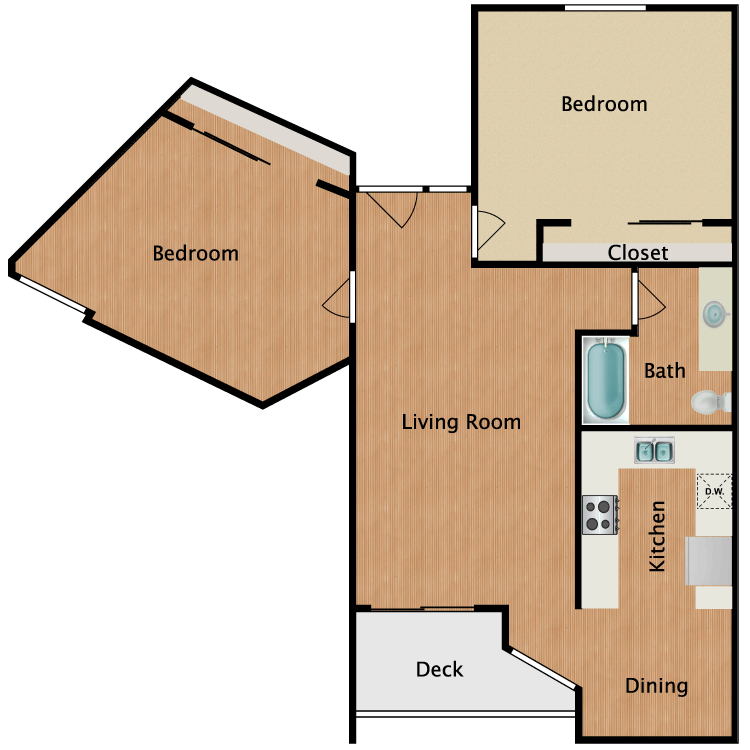 Floor plan image of Two Bedroom A