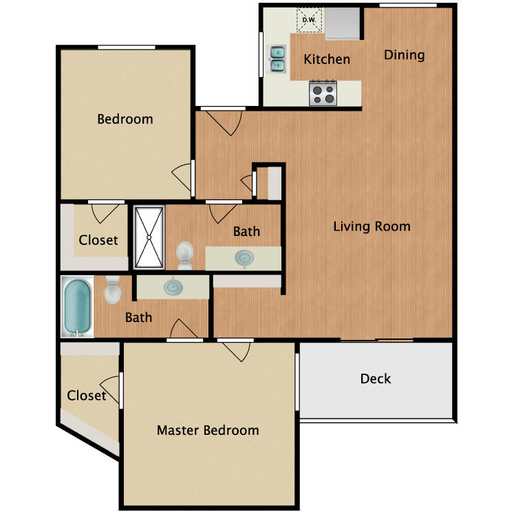 Floor plan image of Two Bedroom B