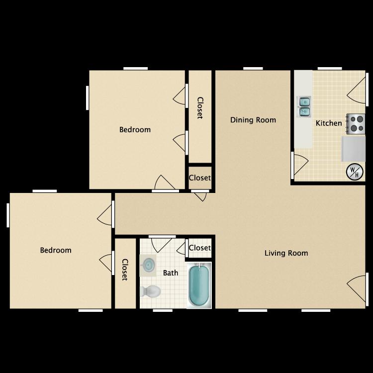 2 Bed 1 Bath floor plan image