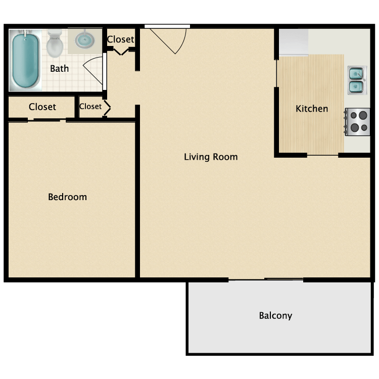 Floor plan image of One Bedroom Luxury