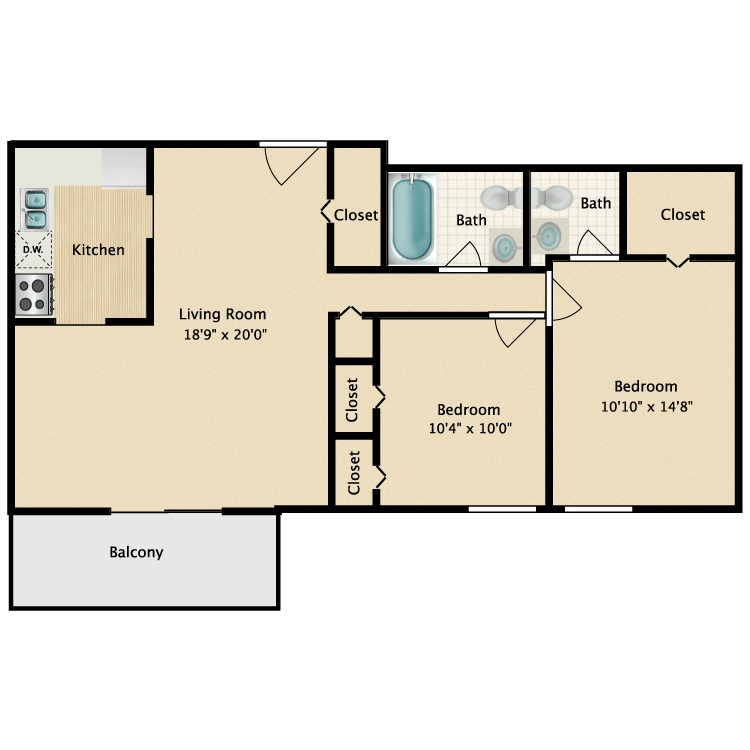 Floor plan image of Two Bedroom 1.5 Bath Premium