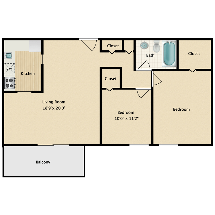 Floor plan image of Two Bedroom One Bath Premium