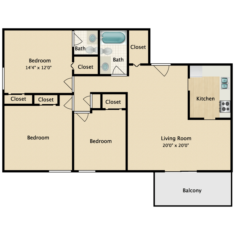 Floor plan image of Three Bed Upgrade