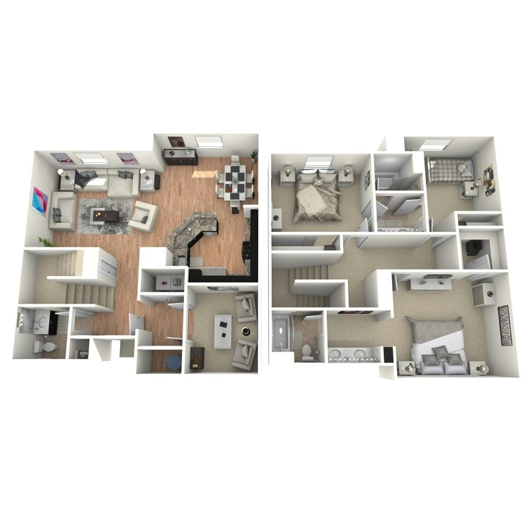 Floor plan image of 3 Bed 2.5 Bath Townhome with Den