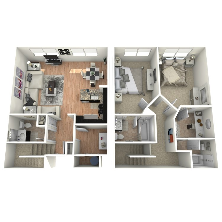 Floor plan image of 2 Bed 2.5 Bath Townhome
