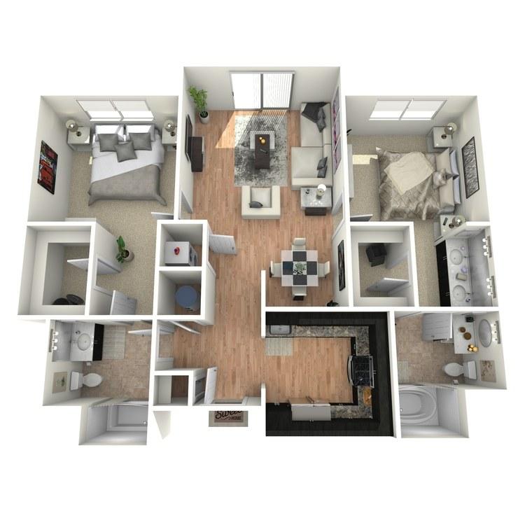Floor plan image of 2 Bed 2 Bath Flat