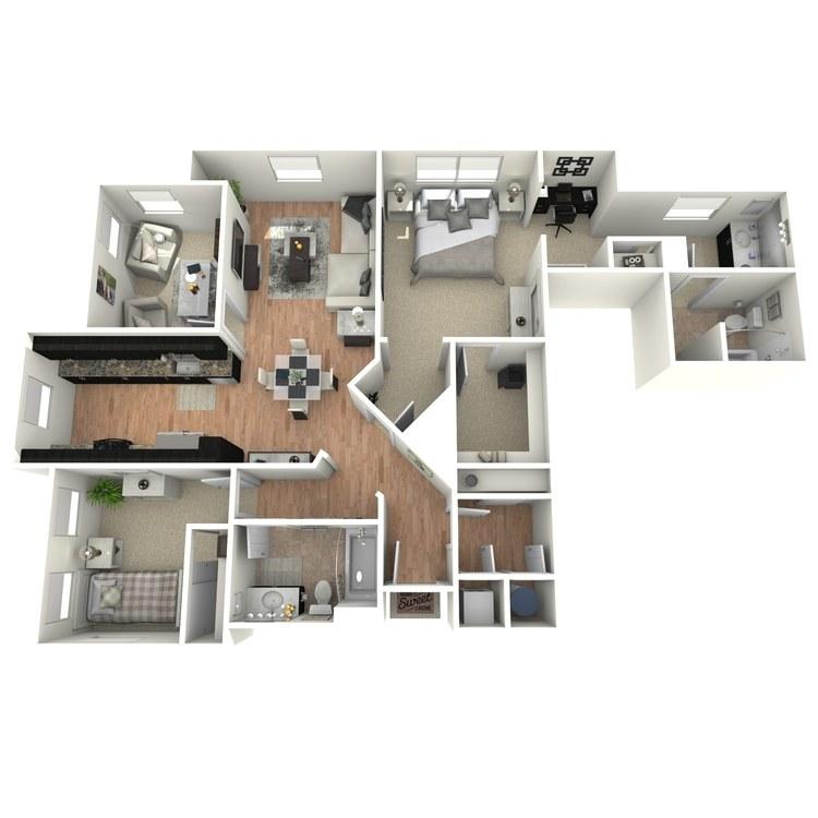 Floor plan image of 2 Bed 2 Bath with Den